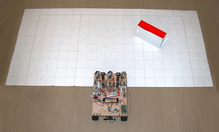 Smartcar demonstrator facing an object on the paper grid